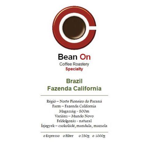 Bean On Brazil Fazenda California 1Kg,szemes kávé