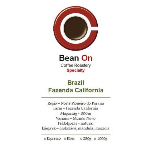 Bean On Brazil Fazenda California szemes kávé 250Gr