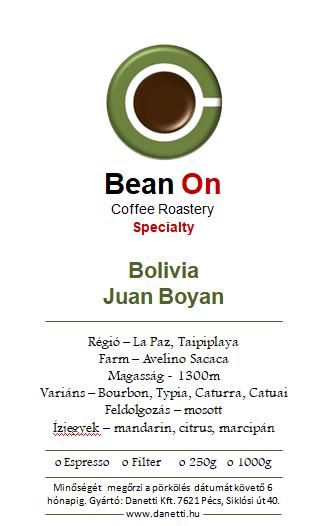 Bean On Bolivia Juan Boyan 1Kg,szemes kávé